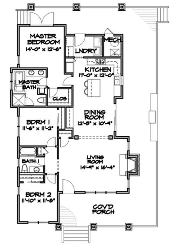 Bungalow Style House Plan - 3 Beds 2 Baths 1564 Sq/Ft Plan #490-25 Floor Plan - Main Floor Plan - Houseplans.com