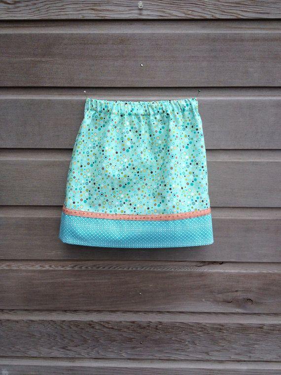 Aqua dot skirt / Girls skirt / Size 3 / Summer skirt by LittleFieldBirch, €25.00