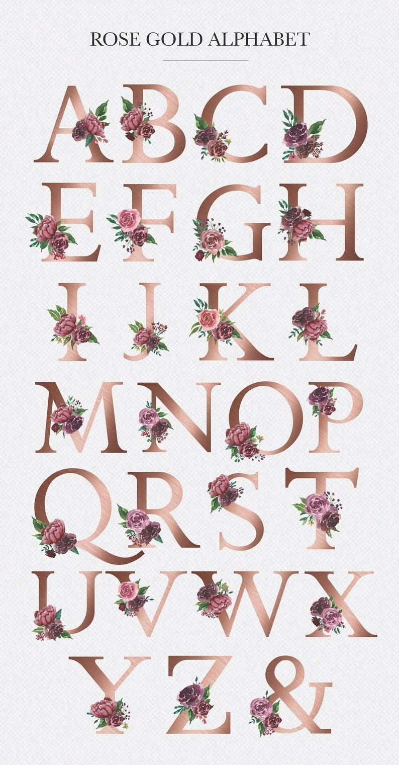 Watercolor Floral Alphabet | Rose Gold Alphabet | Monogram Letters | Forest Clipart| embellished floral alphabet | Decor Art Flowers - #alphabet #art #clipart #Decor #embellished #Floral #flowers #forest #gold #Letters #monogram #rose #Watercolor