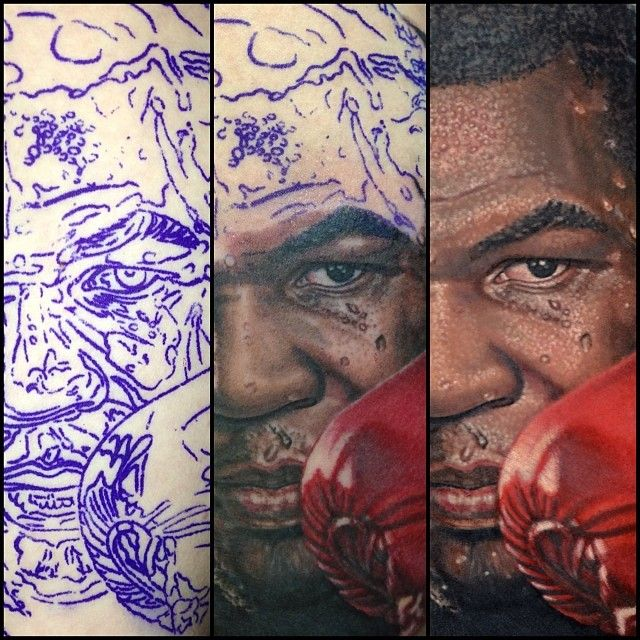 Mike Tyson Colour Portrait Tattoo brought to life by Nikko
