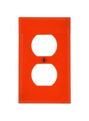 Tapa para toma doble IG sin marcacion color rojo. | E-conex