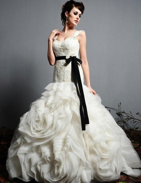 Chanel Themed Wedding Black And White Gown