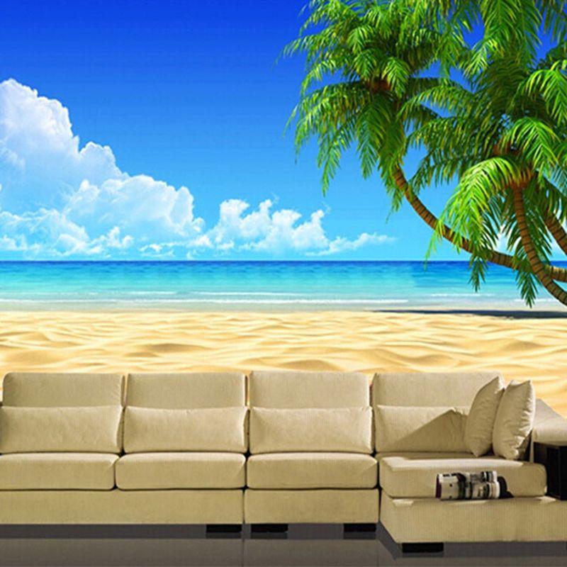 Modern 3D Beach Landscape Large Wallpaper Roll Natural Scene Papel De Parede Home Decor Bedroom Living Room Sofa Background Wall