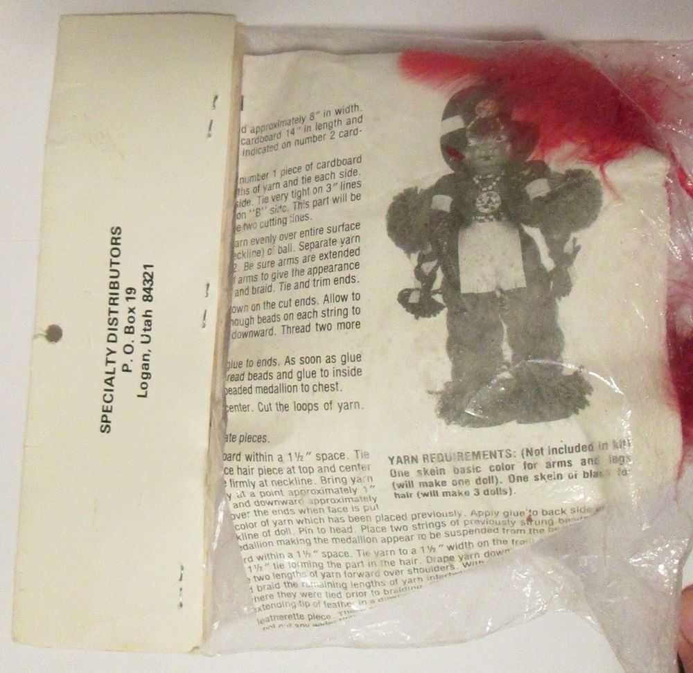 Vtg yarn indian brave specialty doll kit head with body instructions
