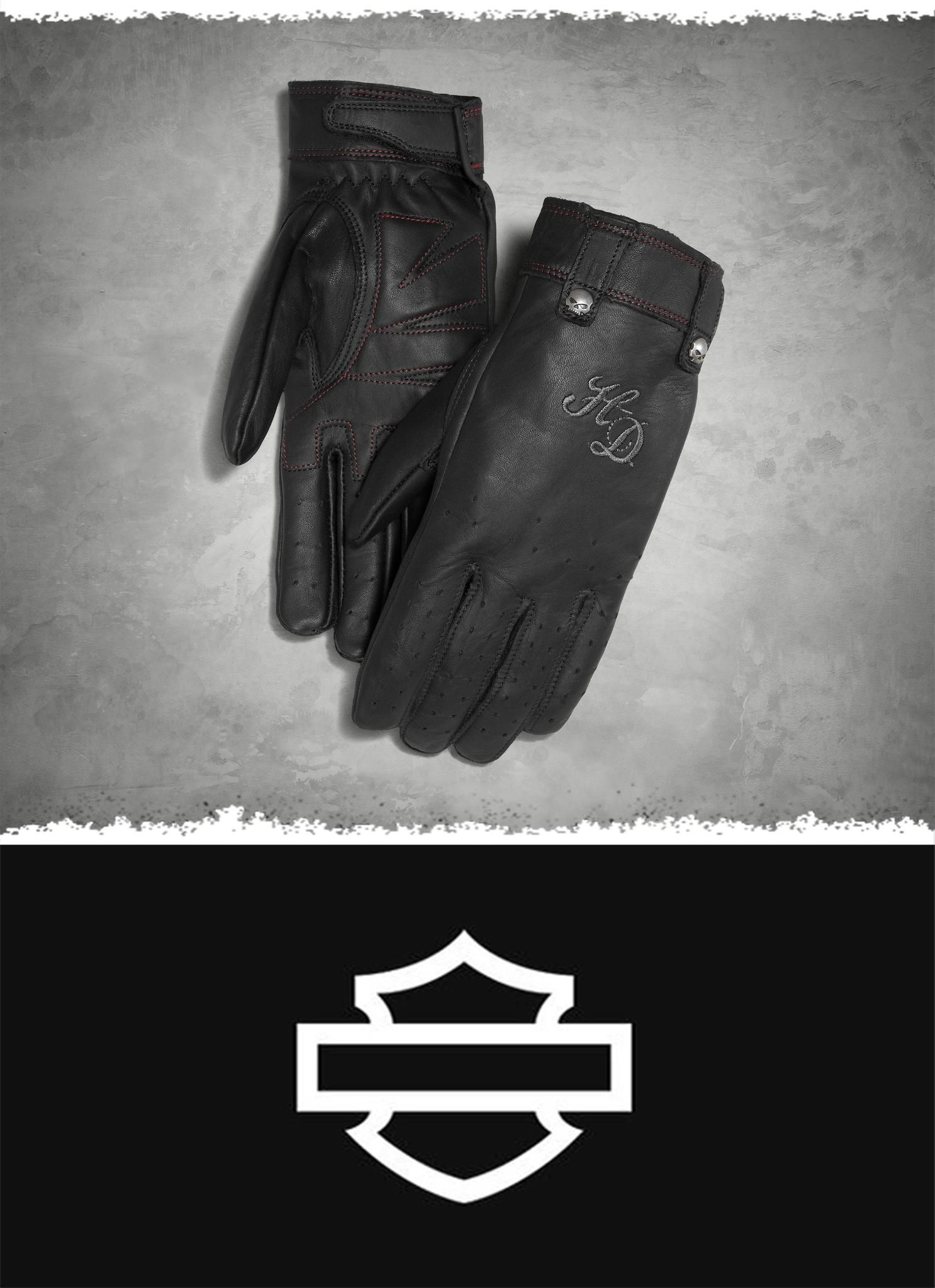 These classic riding gloves are styled from long-lasting cowhide leather. | Harley-Davidson Women's Skull Rivet Leather Gloves #MothersDay