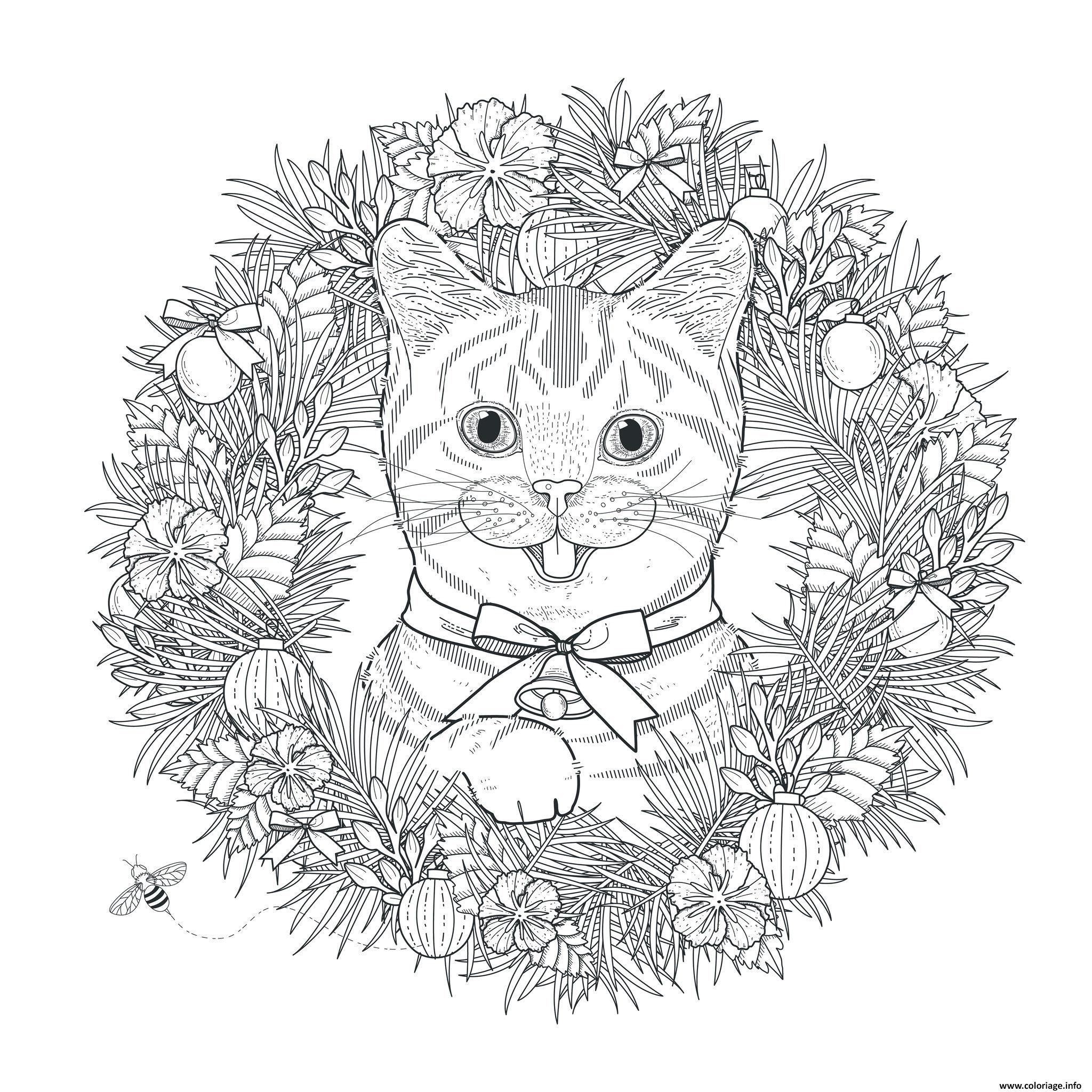 Coloriage Chat Noel.Coloriage Mandala Noel Chat Adulte Dessin A Imprimer Art Cat
