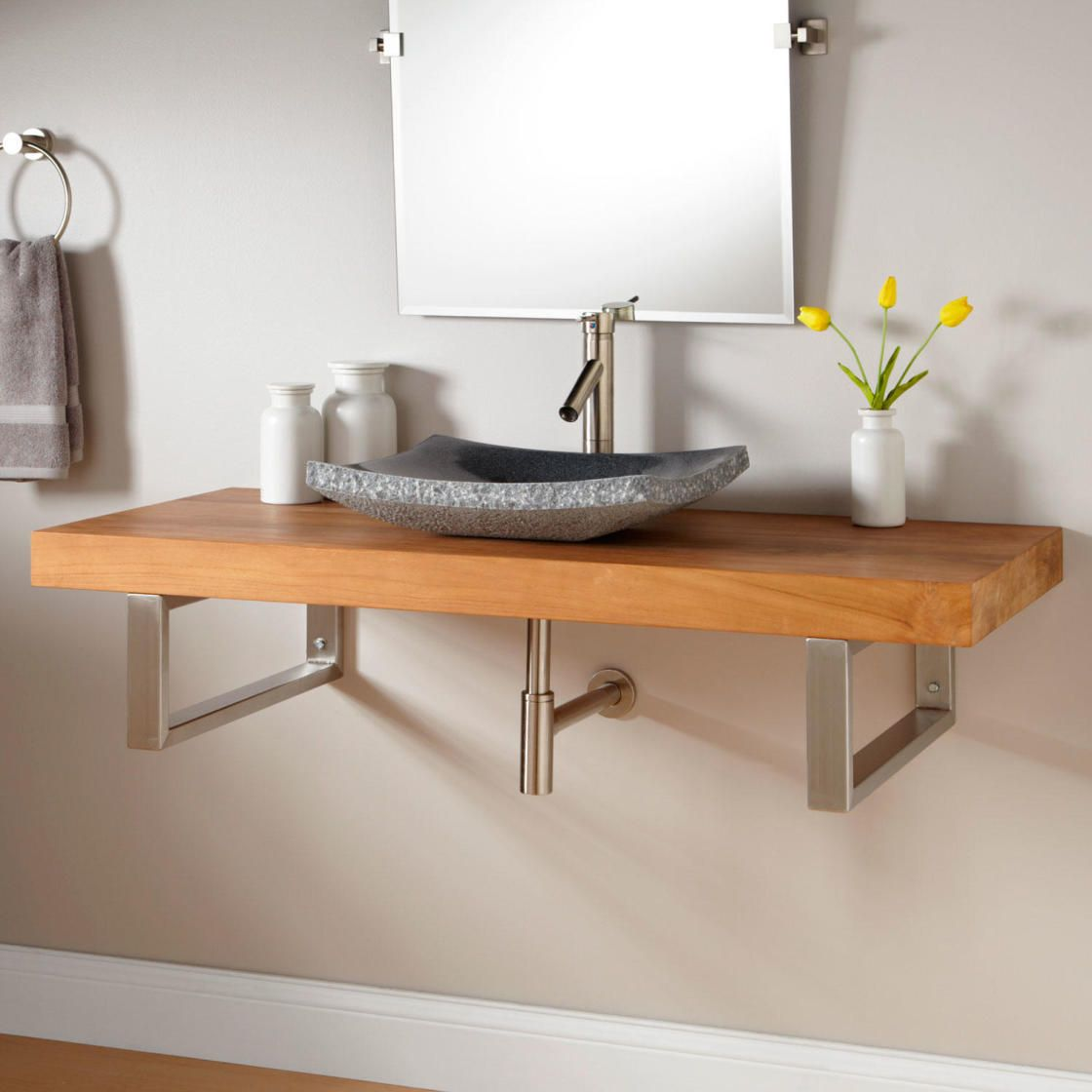 Interesting Wall Mount Vanity Design With Minimalist Natural Oak Wood Floating Washstand Using Silver Metal Wall Mounted Bathroom Sinks Teak Wall Teak Bathroom