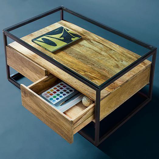 Box Frame Storage Coffee Table Raw Mango Antique Bronze In