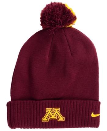 size 40 932b6 fe90a Nike Minnesota Golden Gophers Beanie Sideline Pom Hat - Red Adjustable