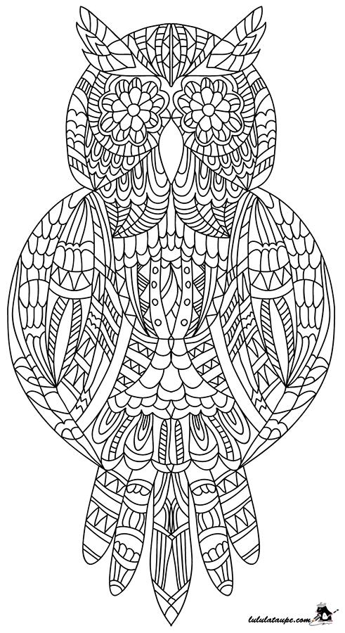 Dessin colorier un hibou abstrait tolentin - Jeux anti stress gratuit ...