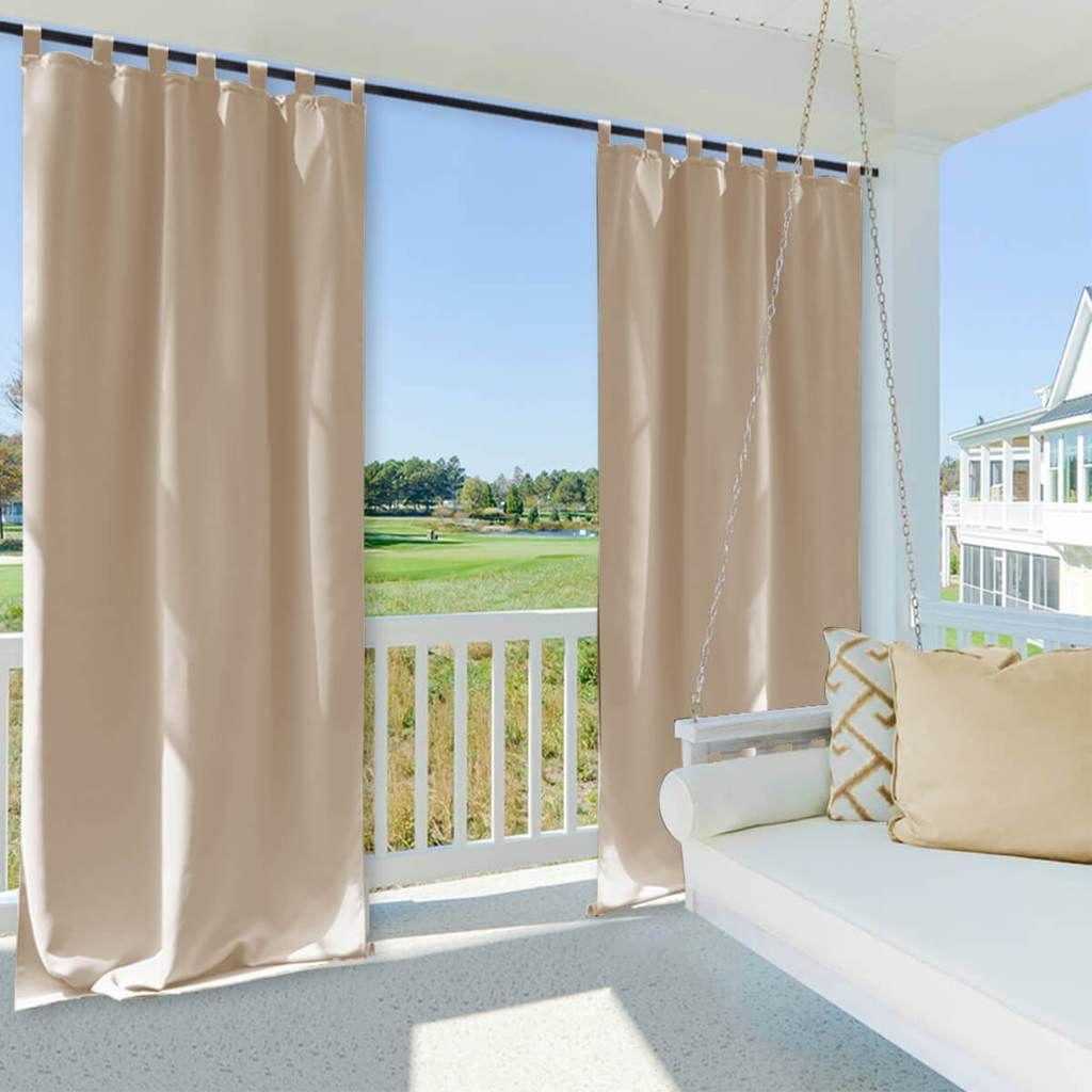 Outdoor Waterproof Tap Top Curtains 1 Panel In 2020 Outdoor Drapes Patio Curtains Outdoor Curtains