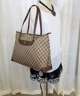 847296b40789 Vintage Gucci Tote Shopper Bag Purse Extra Large GG Monogram HTF 80's  Authentic
