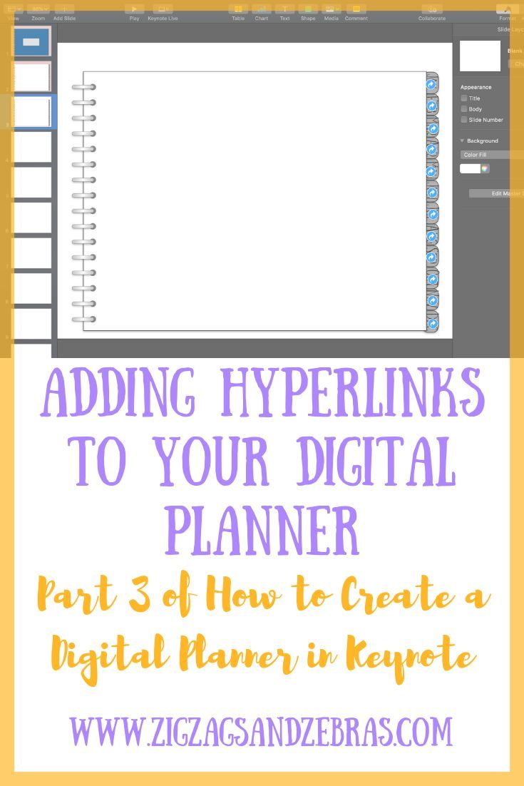 Adding hyperlinks to a digital planner zigzags and