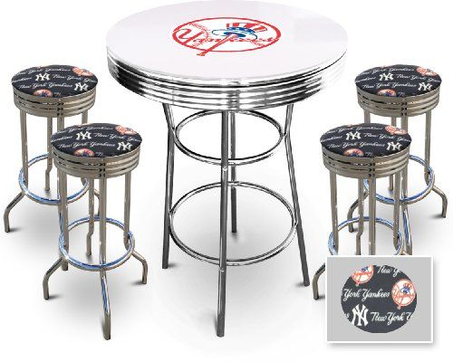 Prime New York Yankees Glass Top Chrome Bar Pub White Table Set Caraccident5 Cool Chair Designs And Ideas Caraccident5Info