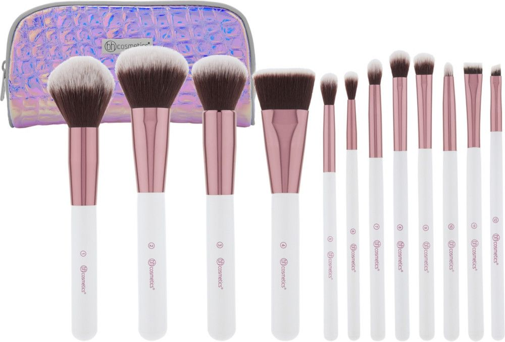 Bh Cosmetics Crystal Quartz 12 Piece Brush Set With Cosmetic Bag With Images It Cosmetics Brushes Online Cosmetics Bh Cosmetics