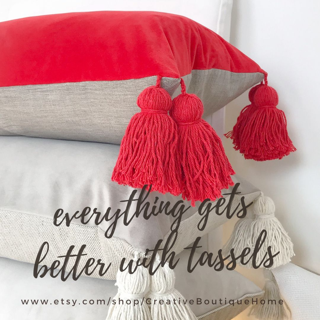 this linen pillow with lush tassels and