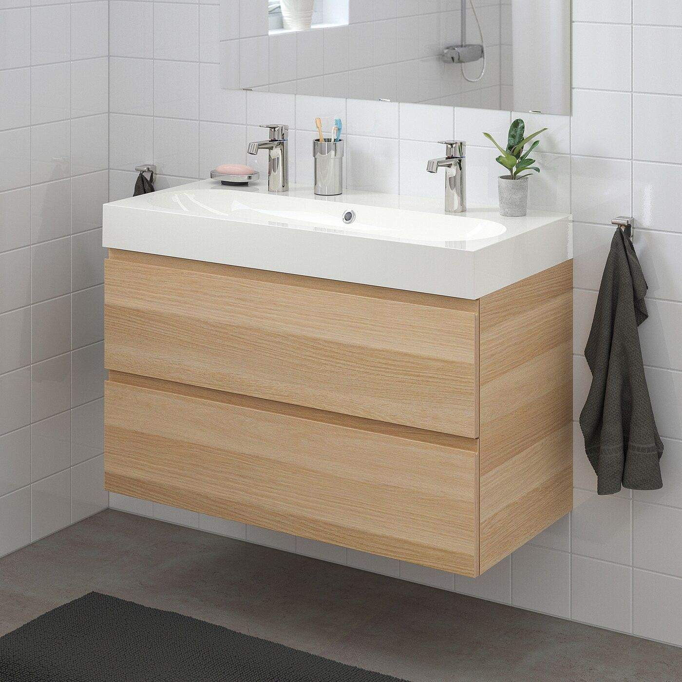 Ikea Godmorgon Braviken Waschbeckenschrank 2 Schublade Eicheneffekt Wlas Brogrund Mischbatterie In 2020 Waschbeckenschrank Ikea Godmorgon Mischbatterien