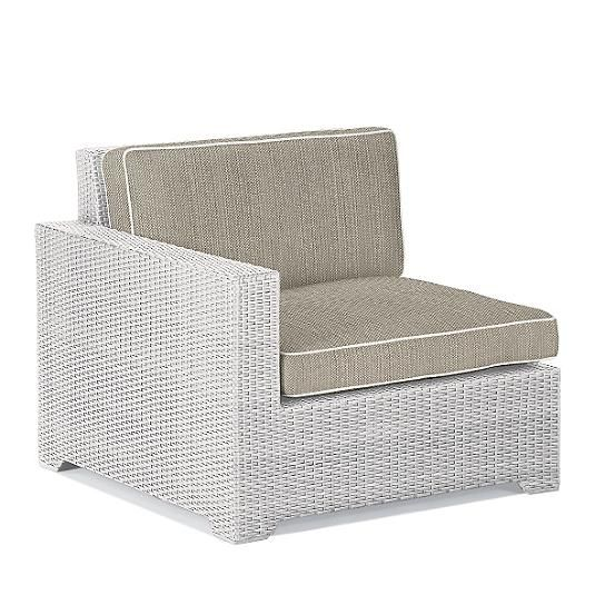 Palermo Left Facing Chair With Cushions In White Finish