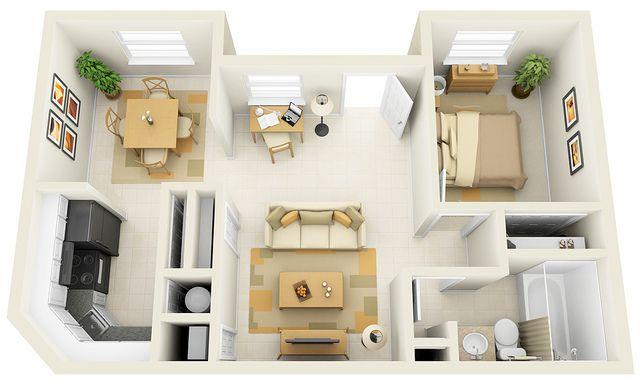1 Bedroom 3d Floor Plan For Websites Downloading One Bedroom House Tiny House Design One Bedroom House Plans
