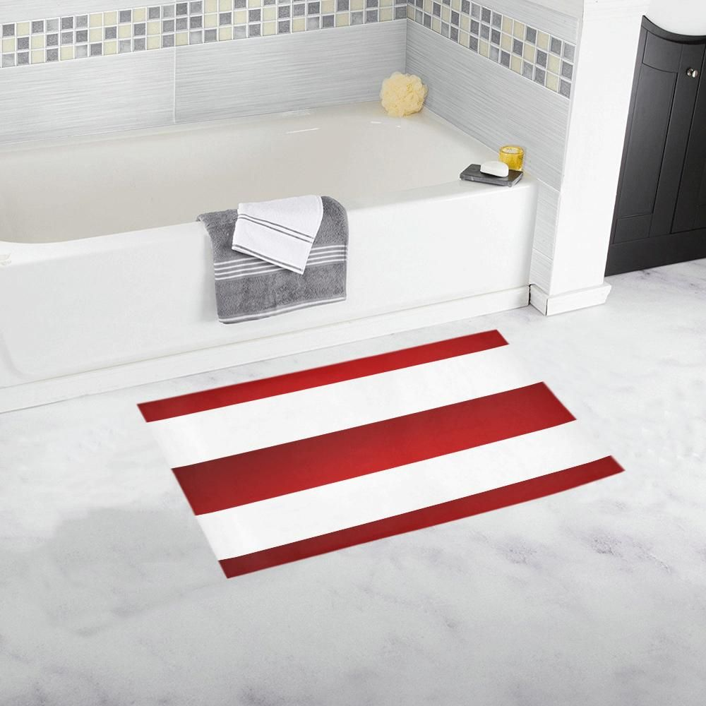 Red White Stripes Bath Rug 16 X 28 Rugs Rugs On Carpet Red