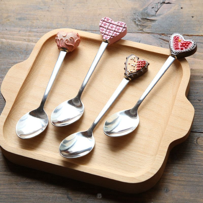 Ceramic LOVE Heart Stainless Steel Spoon Tea Coffee Ice Cream Cutlery Kids Gift