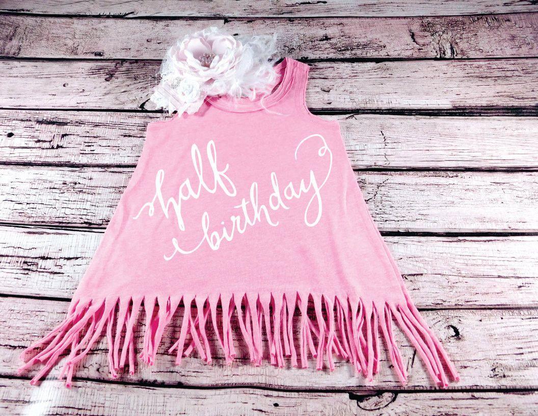 Baby Girl Half Birthday Fringe Dress 1/2 Birthday Girl