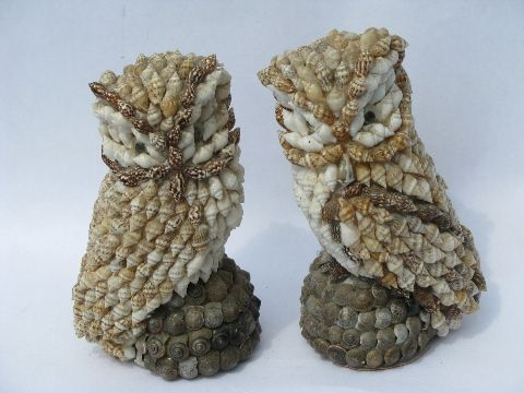 Hand Crafted Shell Ornaments that look like Owls FREE SHIPPING!