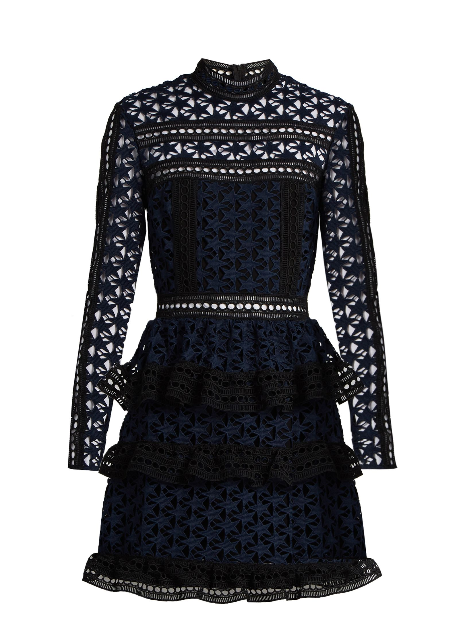 20ba401211d6e High-neck star-lace tiered mini dress | Self-portrait | MATCHESFASHION.COM  US
