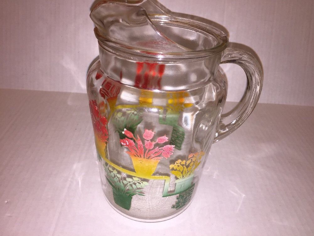 Vintage Retro Glass Handled Pitcher Red Yellow Green Flowers Floral Design Vintage Glassware Pitcher Green Flowers
