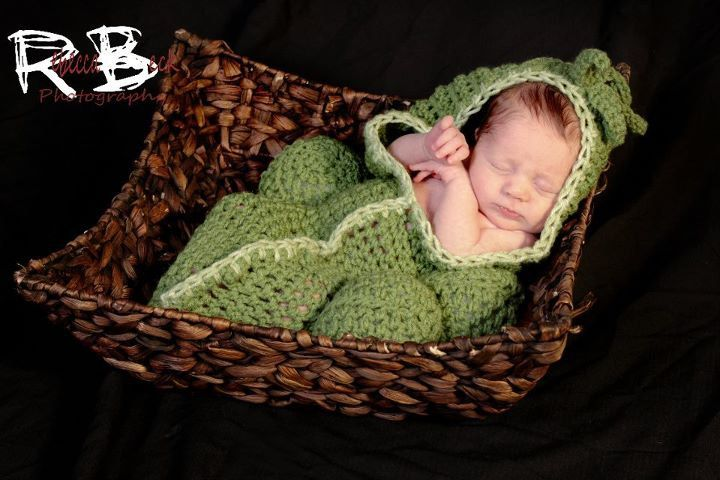 Newborn baby pea in a pod with 3 peas cocoon  Newborn photo props photography New OOAK. $35.00, via Etsy.