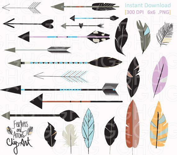 Digital Clipart Tribal Arrows And Feathers Feather Clipart Arrow Clipart Chalkboard Clipart Png Handdrawn Ill Feather Clip Art Arrow Drawing Arrow Artwork