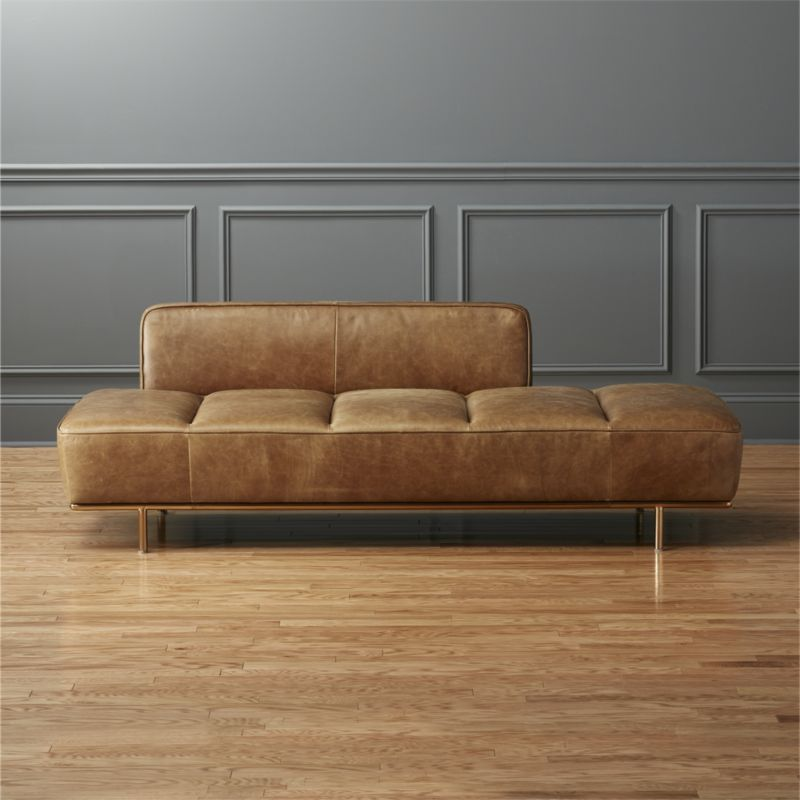 Shop Lawndale Brown Leather Daybed With Brass Base. Midcentury Meets  So Right Now In This Tumbled Leather Daybed With Gleaming Brass Base. Design Ideas