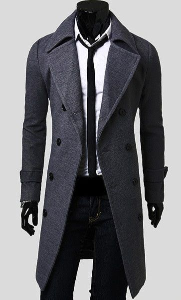 Fashionable Casual Style Long Sleeves Solid Color Slimming Double Breasted  Coat For Men found on dresslily.com 418bf76ccd43