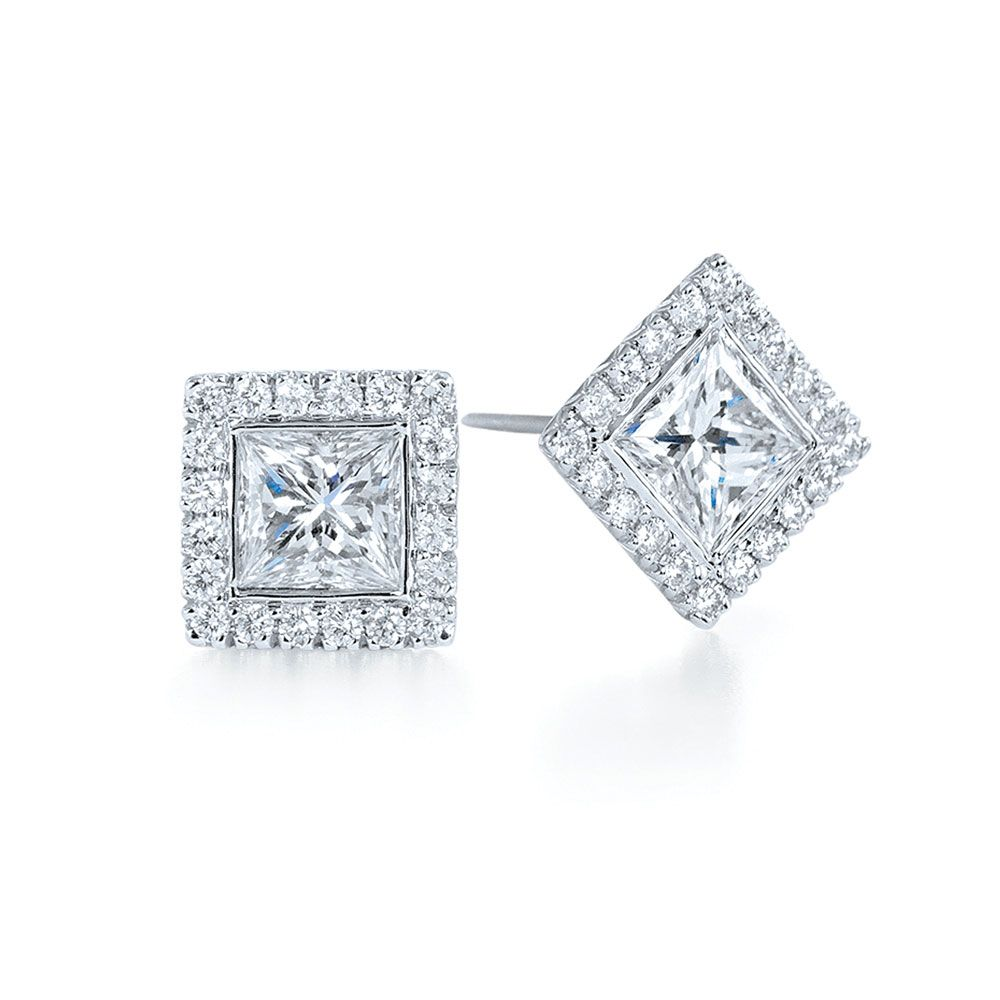stud solitaire diamond platinum princess square main cut earrings