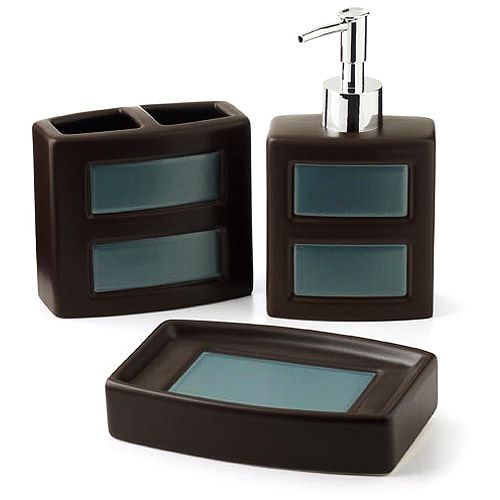 Bathroom Accessories | Hometrends Gridlock 3 Piece Bathroom Accessories Set    Walmart.com