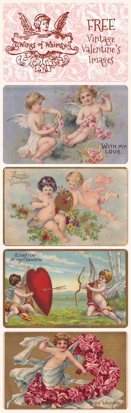 Wings of Whimsy: Vintage Valentine's Images - free for personal use