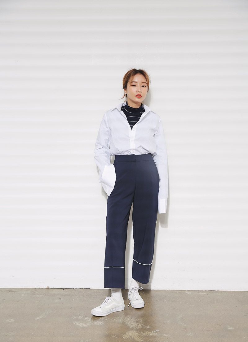 Contrast Seam Wide Leg Pants (Navy) | STYLENANDA