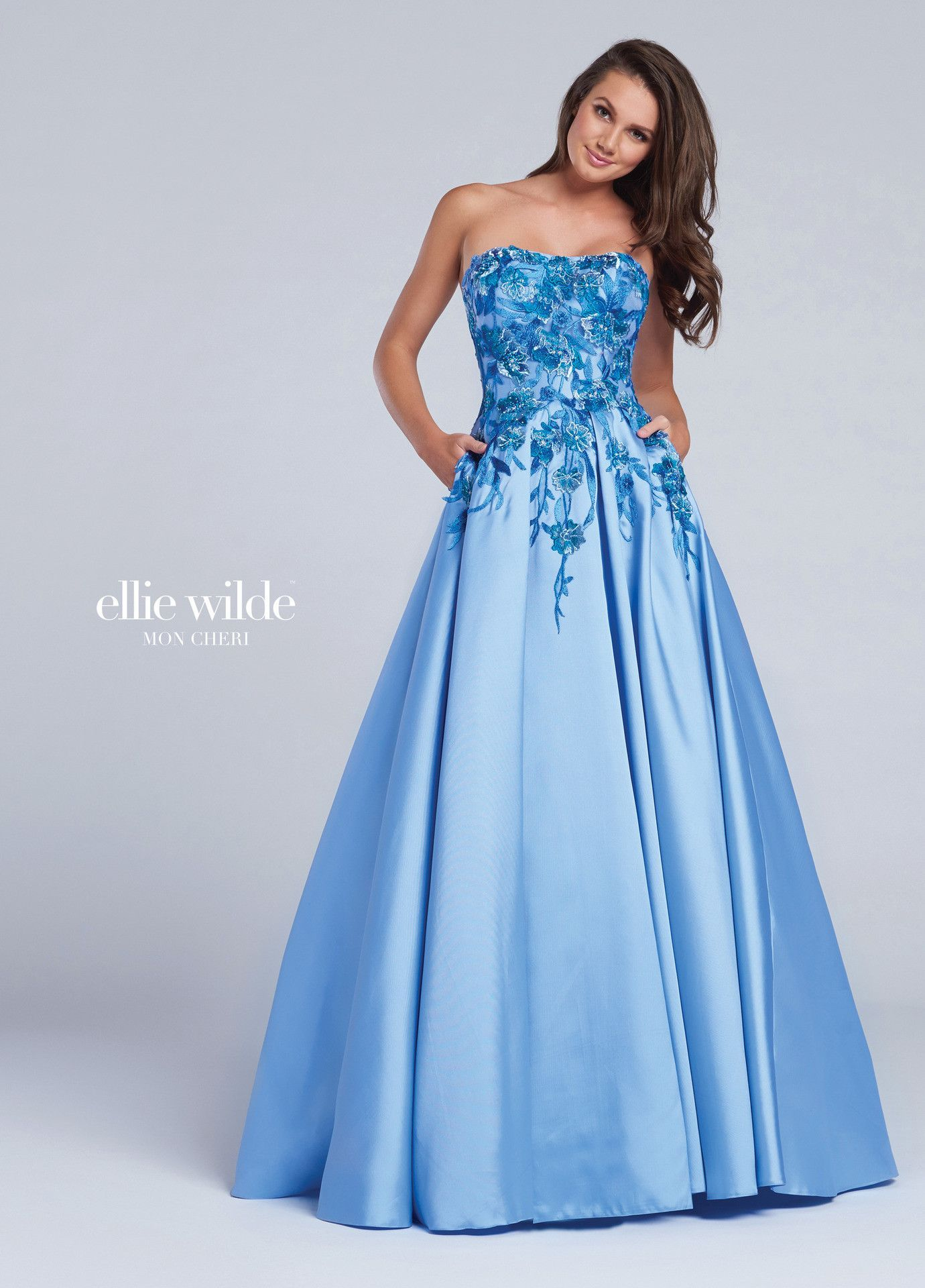 Ellie Wilde 117066 Periwinkle Strapless Floral Prom Dress | Products ...