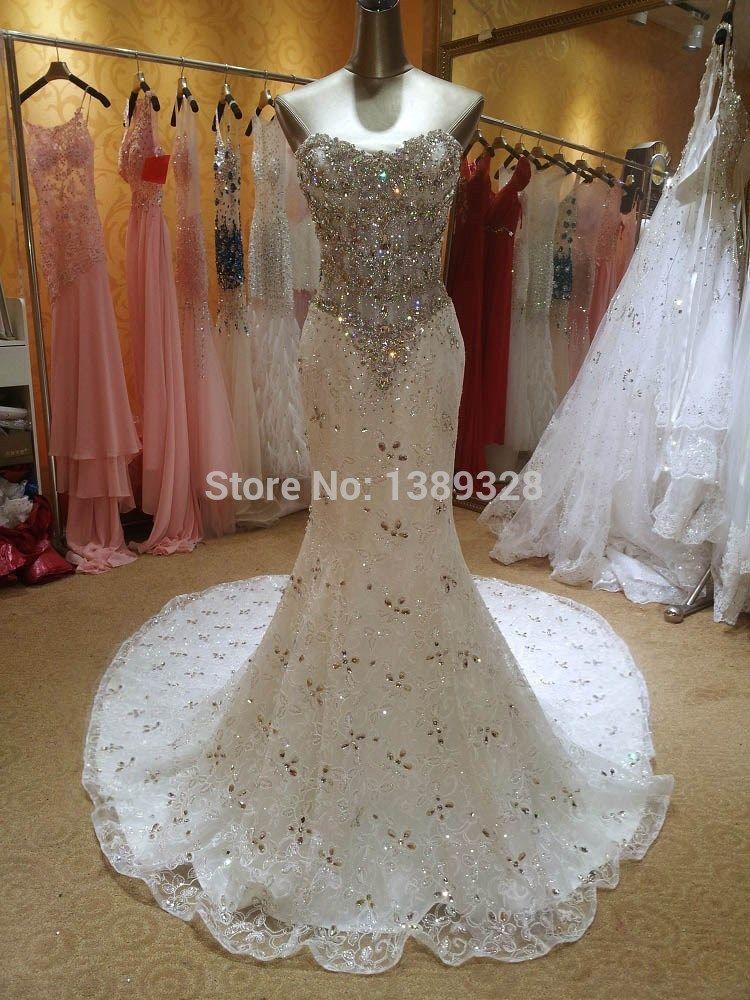 Real Photos Bling Crystal Beadeds Luxury Wedding Dress