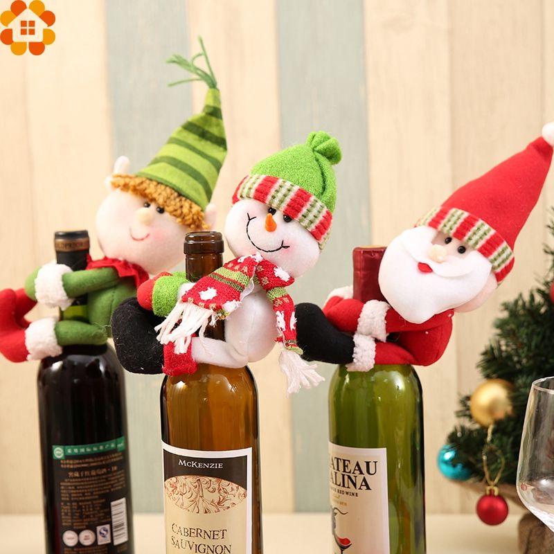 Glass Bottle Decoration For Christmas 1Pc Christmas Bottle Sets Santa Claus Wine Bottle Cover Holders