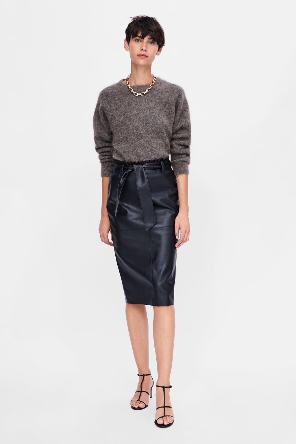 f07aa88624 Faux leather skirt with tie   gifts   Leather Skirt, Faux leather ...