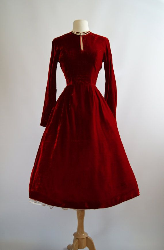 90375451601 Vintage 1950s Red Velvet Party Dress ~ 50s Red Cocktail Dress Long ...