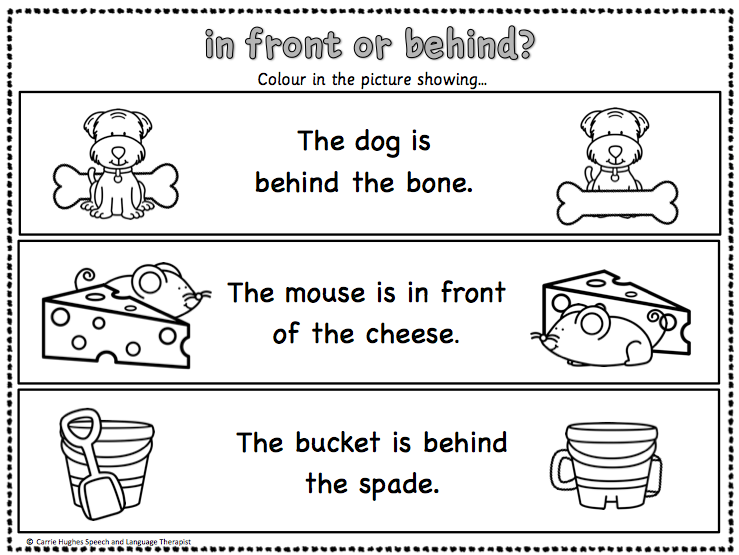 PREPOSITIONS 'IN FRONT' and 'BEHIND' WORKSHEETS AND