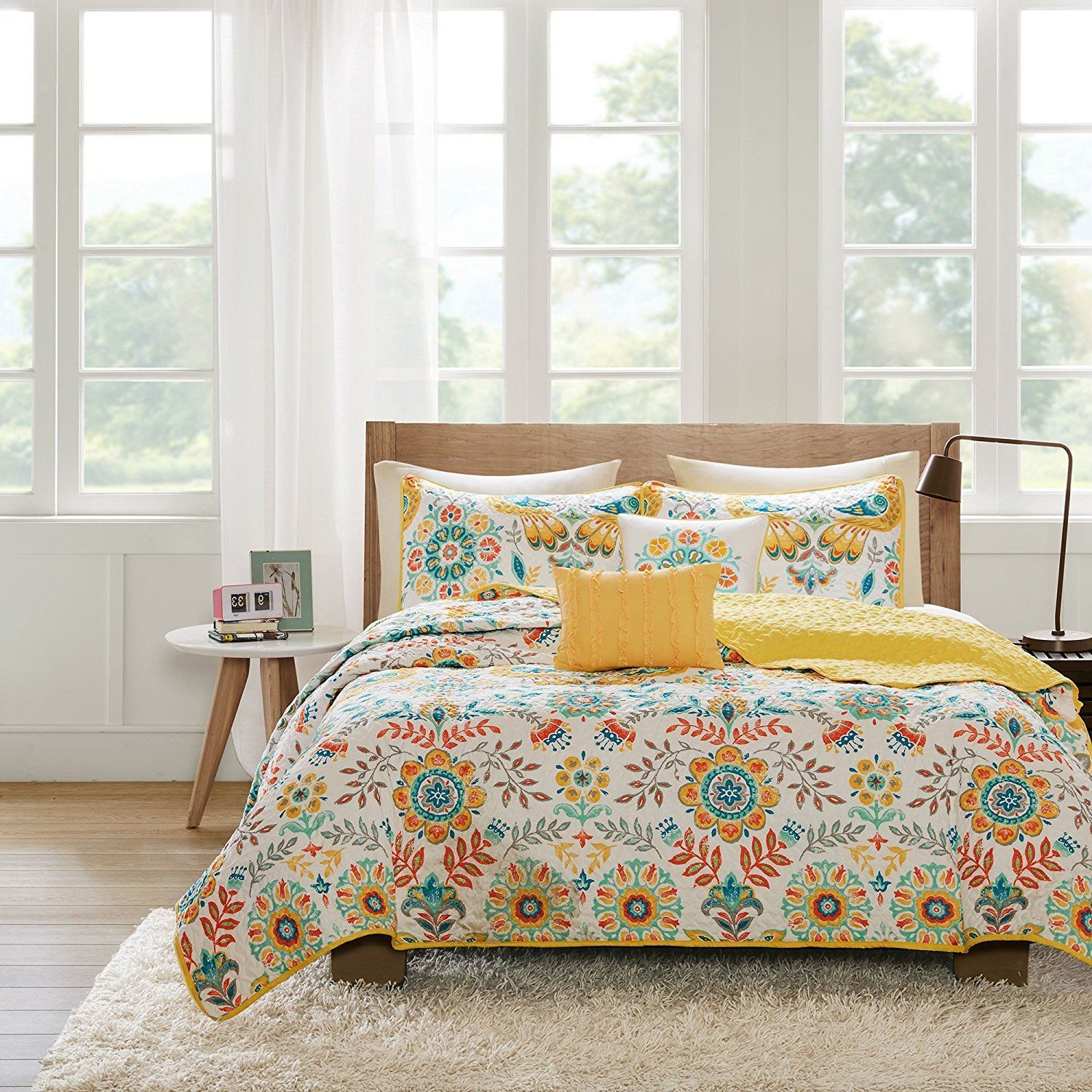 Bright Yellow Orange Teal White Full Queen Coverlet Set Bohemian