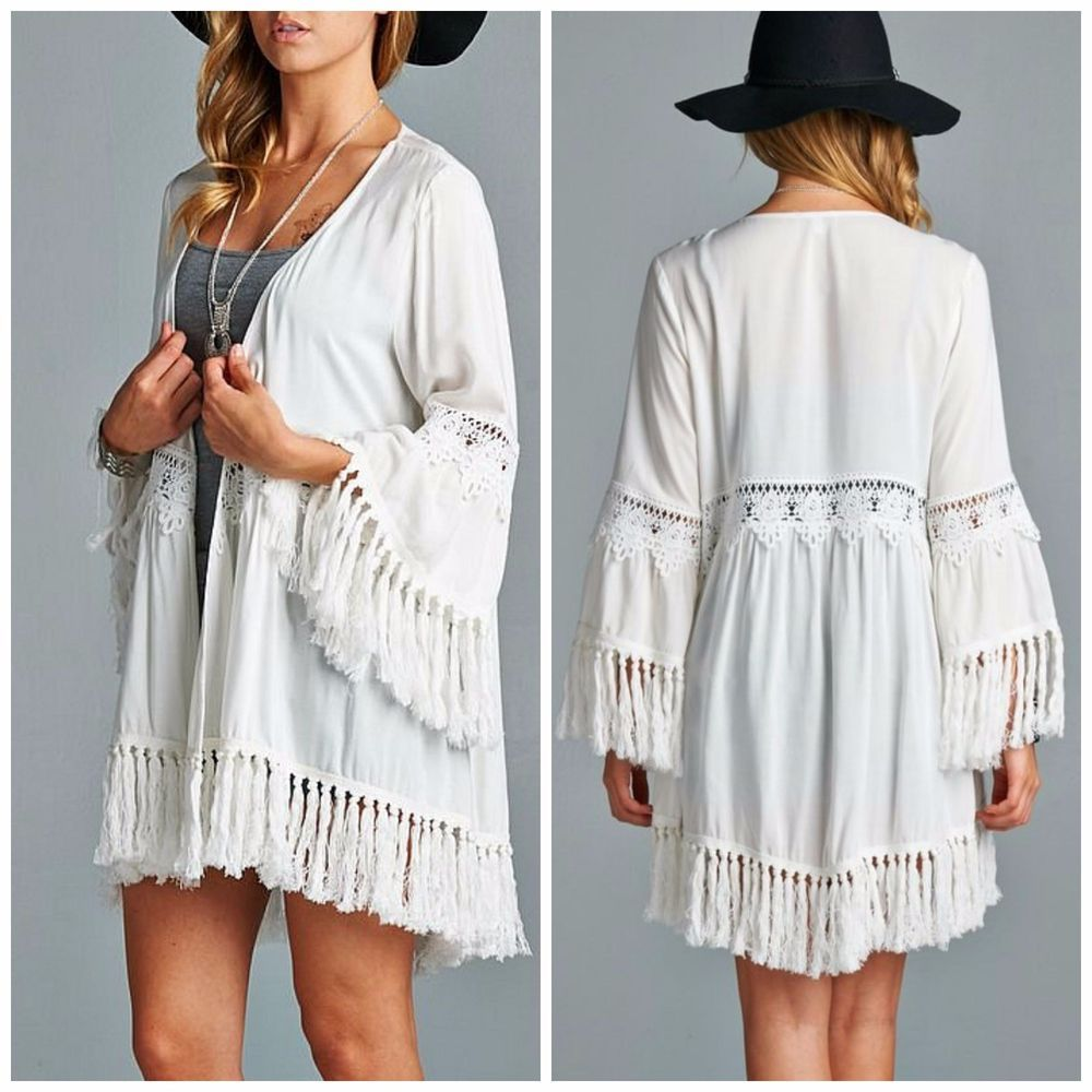 Boho Gypsy OFF WHITE Long Fringe Kimono Cardigan Duster Crochet ...