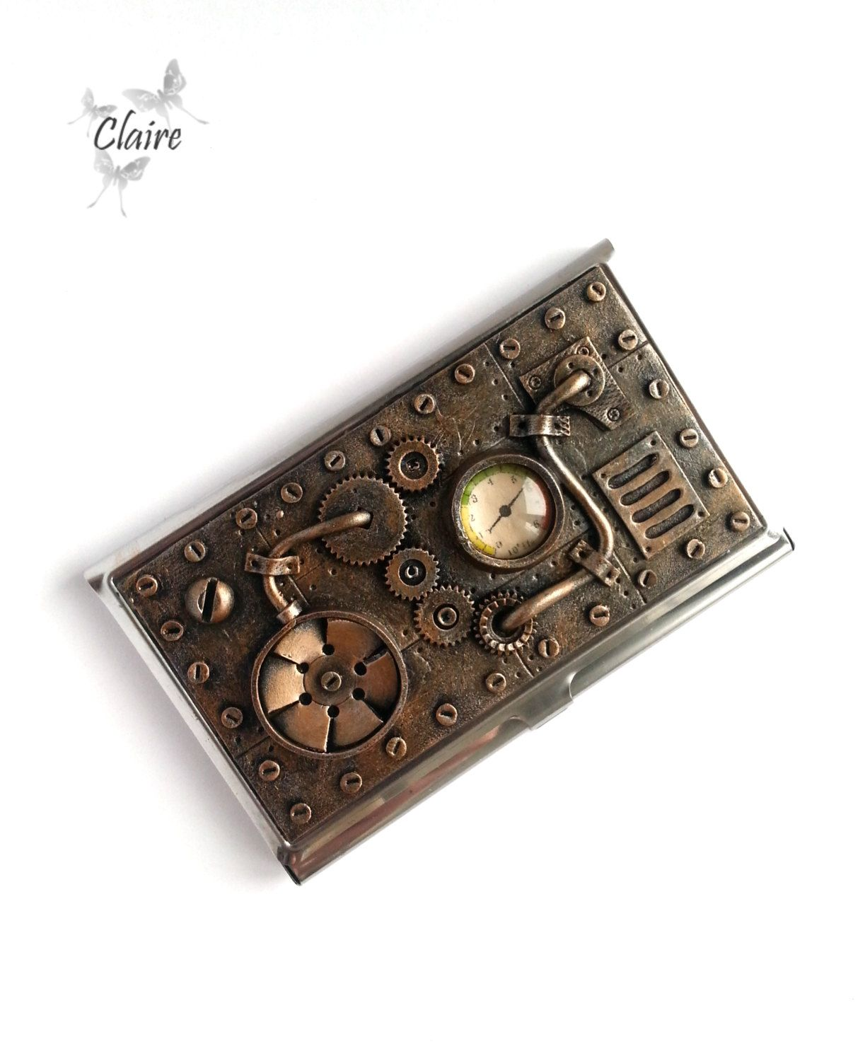 Steampunk Business Card Holder. Business Card Case. Stainless Steel ...