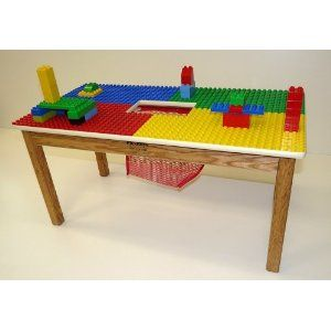 DUPLO COMPATIBLE PRESCHOOL PLAY TABLE WITH SOLID OAK WOOD LEGS AND FRAME    BUILT TO LAST