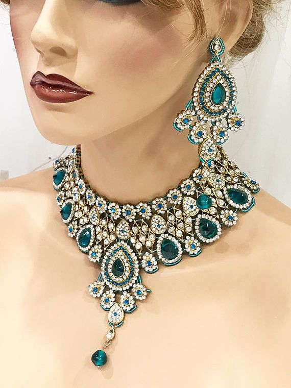 Teal and Blue Necklace and Earring Set
