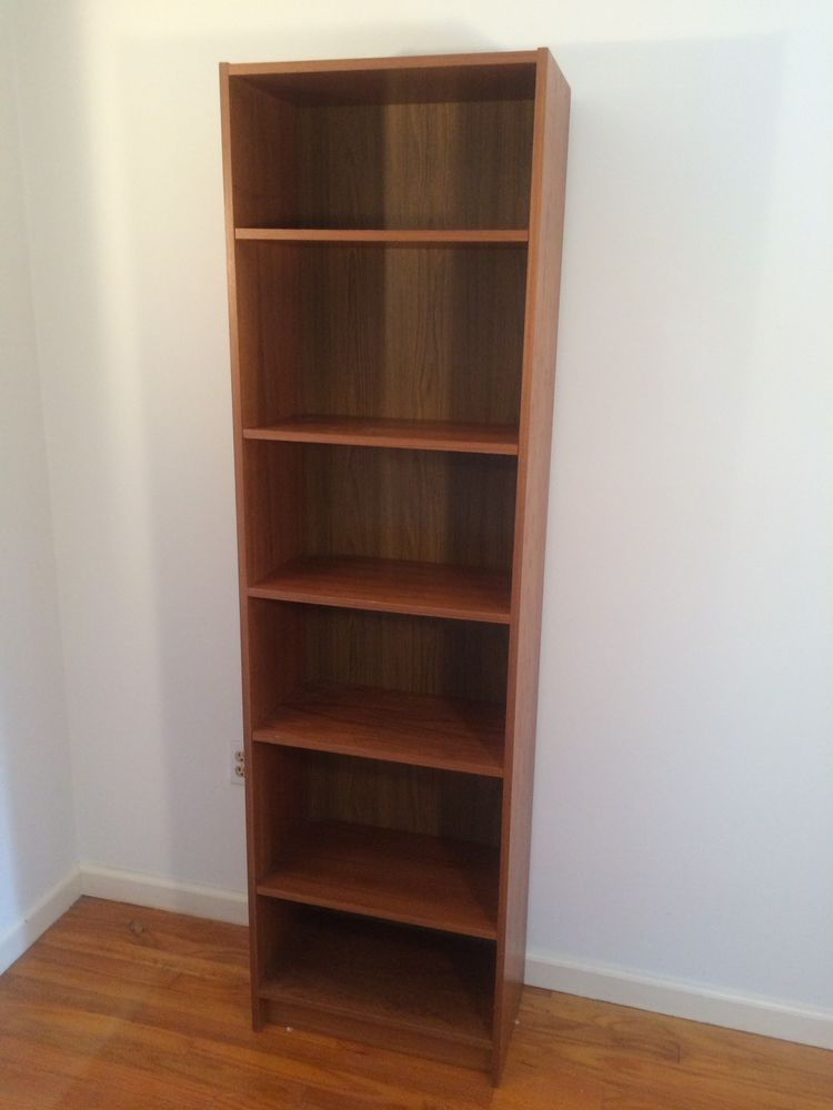 vintage mid century danish modern narrow teak bookcase danishmodern - Teak Bookshelves