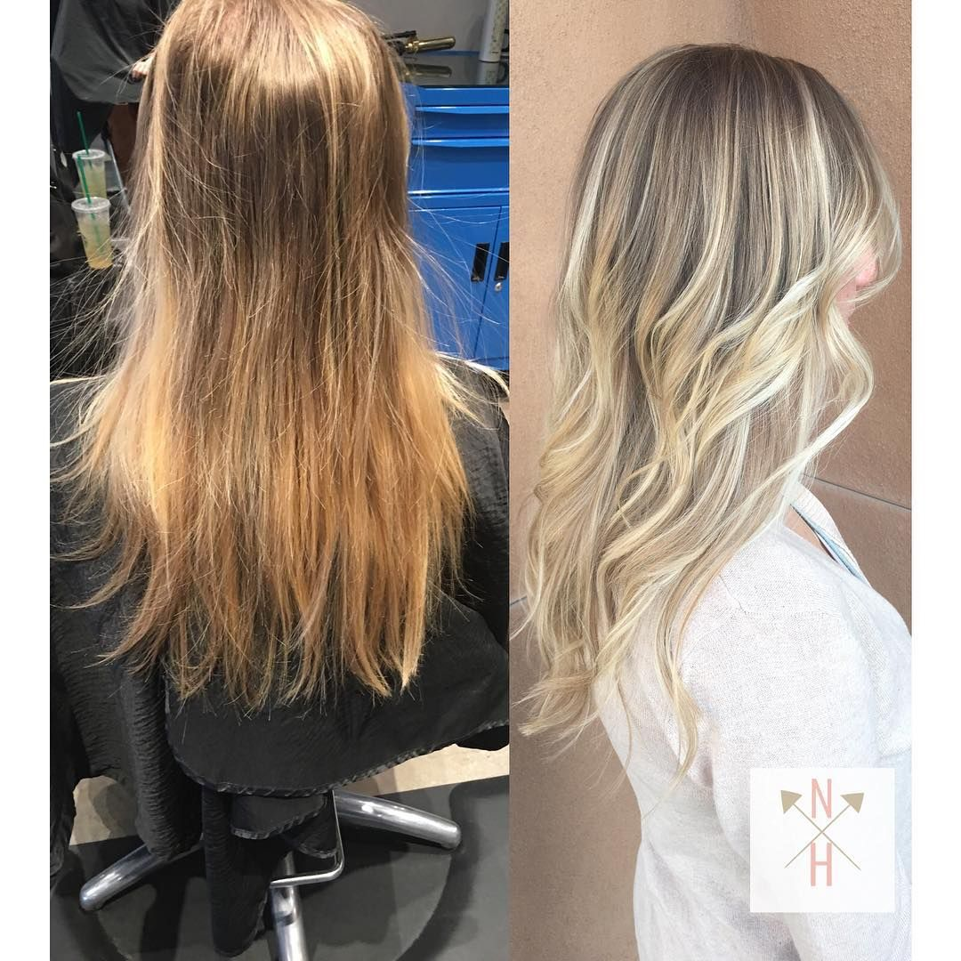 Dull, grown out highlights to a bright pearly balayage